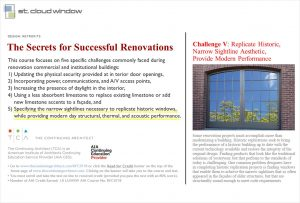 The Secret of Successful Renovation Continuing Ed